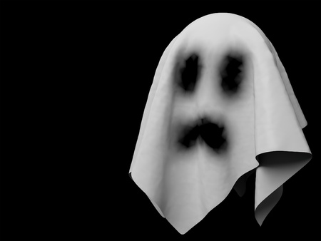 3d render of a spooky ghost. Black background. Stock Photo