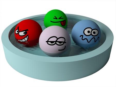 poolside: Funny cartoon people in swimming pool. 3d render.