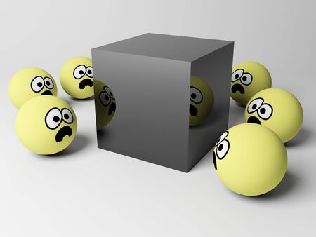 3d render of scene with funny spherical people. Stock Photo