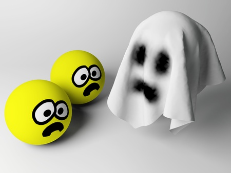 3d render of a spooky ghost with scared persons Stock Photo