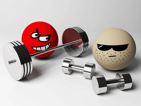 3d render of strength people with weights photo