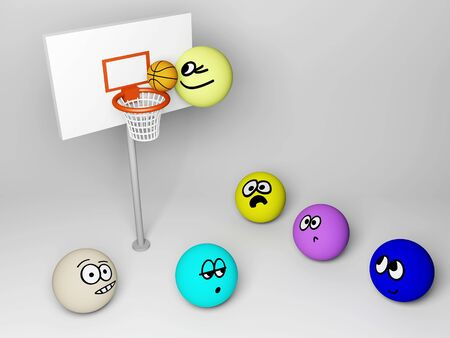 3d render of basketball match with funny people.