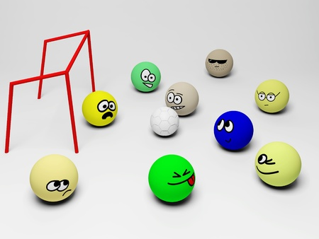 3d render of soccer match with funny people.