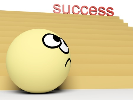 3d concept of way to success with funny person.