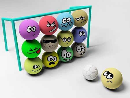 3d render of soccer match with funny people. photo