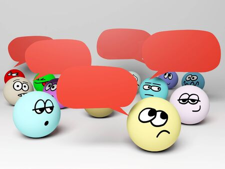3d render of crowd with speech bubbles. Stock Photo