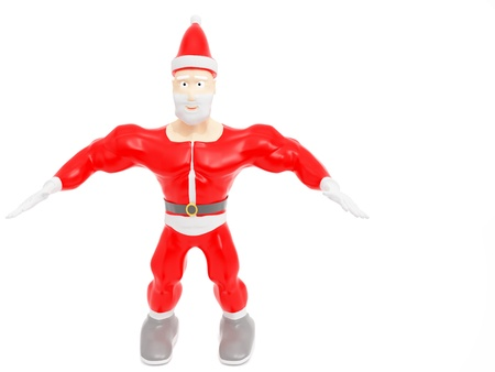 Athletic Santa Claus. Christmas. 3d render on white background.
