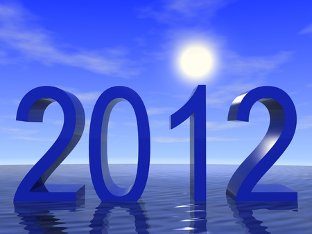 2012 with ocean and sky. 3d render.
