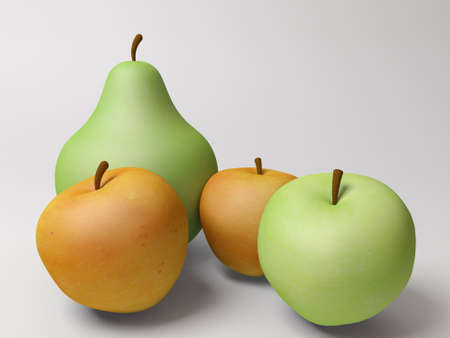 3d render of three apples and one pear.