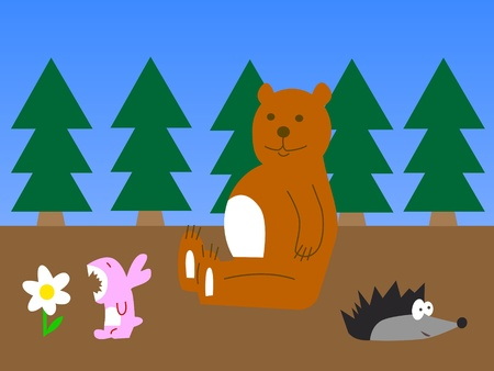 A vector illustration of funny forest animals.