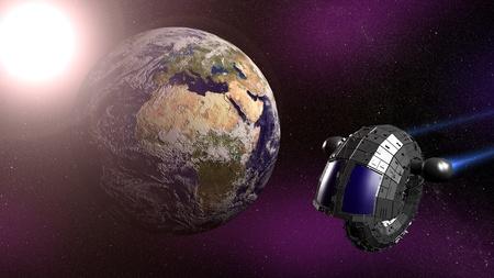 Spaceship flying near Earth  3d render