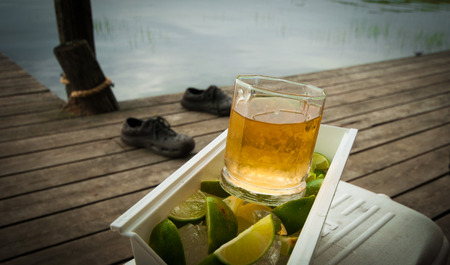 wooden dock: Outdoor drink on wooden dock