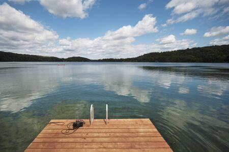Raft on a Lake with Beautiful blue Sky