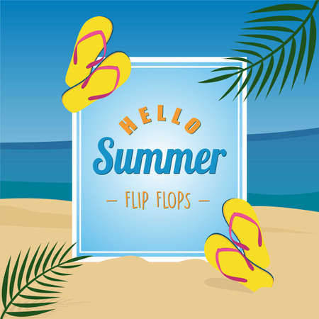 summer time vector banner design with blue boxes for text and elements of sandals with beach background