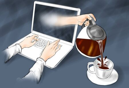 computer network: A hand coming out of the computer fills the cup with coffee. Stock Photo