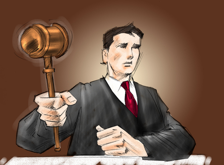 ruling: Judge hits the table with his hammer.