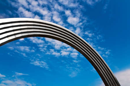Huge steel arch open-air Stock Photo