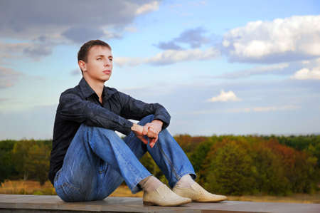 Young man thought about something in the nature