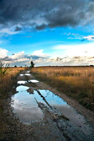 Bad rural road with the big puddles and bad passableness Stock Photo