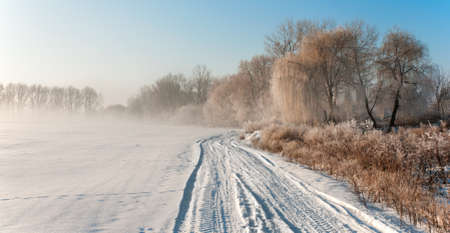 Landscape with fog and hoarfrost on trees