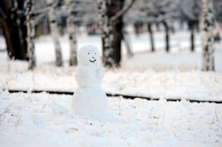 lonely smiling snowman in park