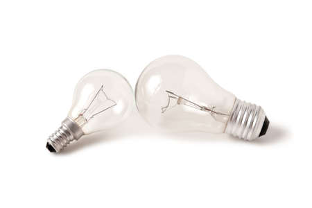 Small and big bulb lamp on white background