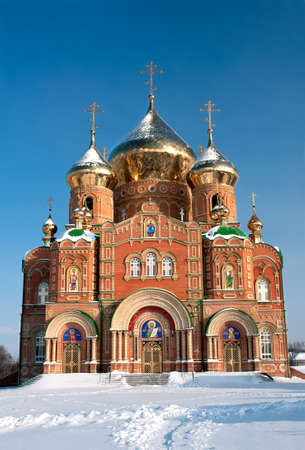 Frosty day in Lugansk  Ukraine  Saint Vladimir cathedral