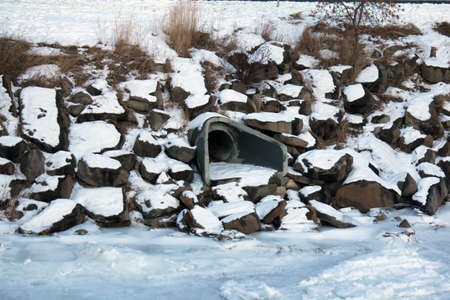 Storm drain in the winter Banco de Imagens