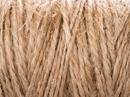 natural rope: Skein of jute twine. Clew of natural rope. Close up
