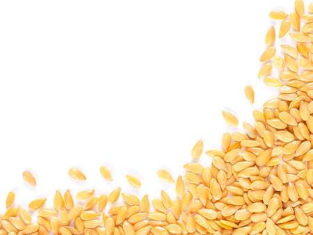 linum: Golden flax seed with copy space. Isolated one edge. Top view or flat lay Stock Photo