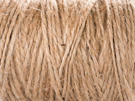 Skein of jute twine. Clew of natural rope. Close up