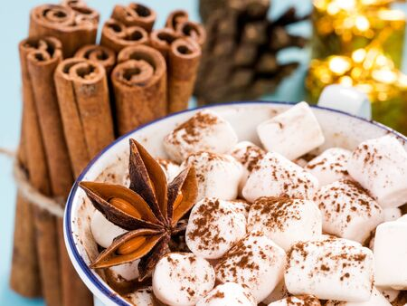 Cup of hot cocoa or carob or chocolate with marshmallow close up and winter spices star anise and cinnamon sticks, pine cones and gifts. Winter drink concept Stock Photo