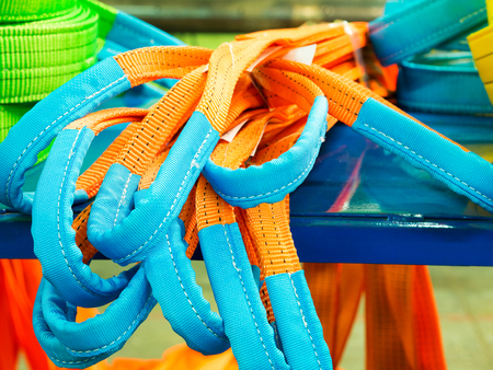 Colorful nylon soft lifting slings. Products for industrial enterprises Stock Photo