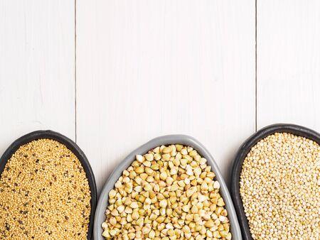 Green buckwheat, amaranth seeds and quinoa