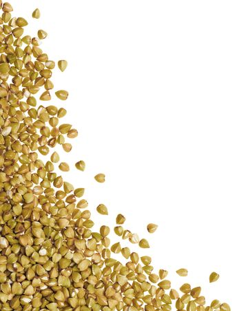 Raw green buckwheat isolated one edge