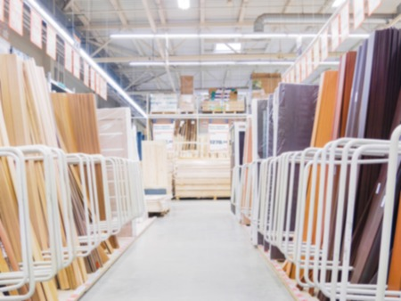 Blurred aisle in hardware store