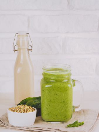 Green smoothie with buckwheat and spinach