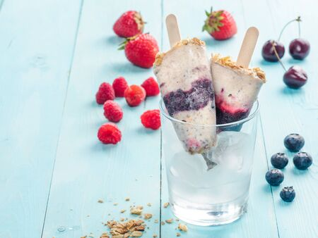 popsicles: Popsicles with berries, granola and chia seeds. Copyspace Foto de archivo