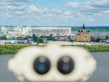 Blurred binoculars in background of stadium in Nizhny Novgorod Stock Photo