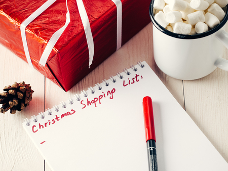 Christmas gifts shopping planning list Stock Photo
