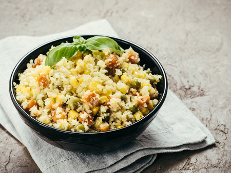 cauliflower rice with vegetables. copy space
