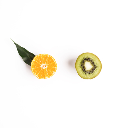Food and fruit concept with kiwi and mandarin