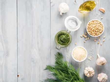 Homemade dill pesto sauce ingredients