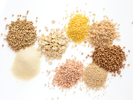 Set of heap various grains and cereals isolated