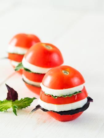 Ready-to-eat fun layered appetiezer with tomatoes, cheese, purple basil,mint leaves.Ideas and recipes for healthy breakfast,dinner, appetiezer,salad.Can use for design cheese dairy.Copy space.Vertical Foto de archivo