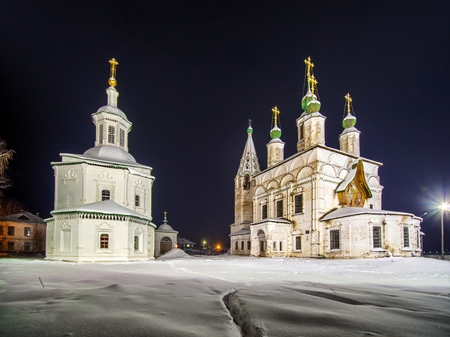 Winter night view ensemble of ancient orthodox churches in Veliky Ustyug