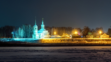 Winter night view of ancient orthodox church in Veliky Ustyug