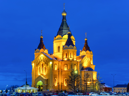Evening winter view of beautiful orthodox cathedral 免版税图像