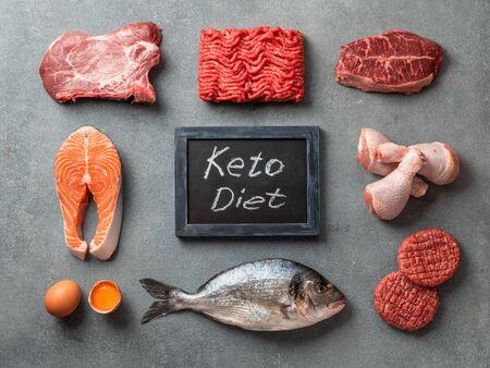 Keto-Diät, Low-Carb-Konzept, Draufsicht