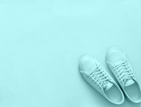 Blue leather sneakers on blue background. Pair of blue sport shoes or sneakers with copy space for text or design. Overhead shot of new blue sneakers, monochrome. Top view or flat lay 版權商用圖片